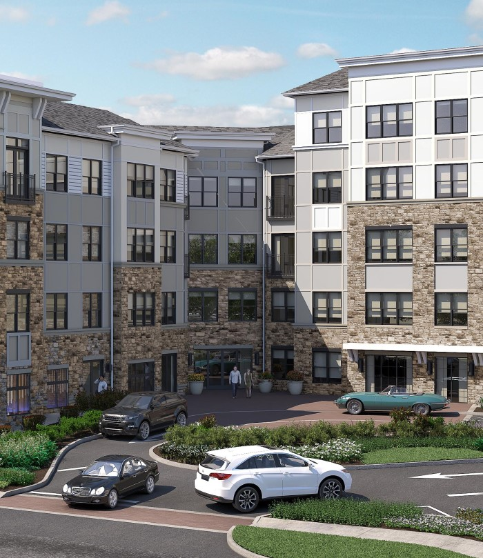 A rendering of the exterior of Carraway. A new Toll Brothers Apartment Living in Harrison, New York.