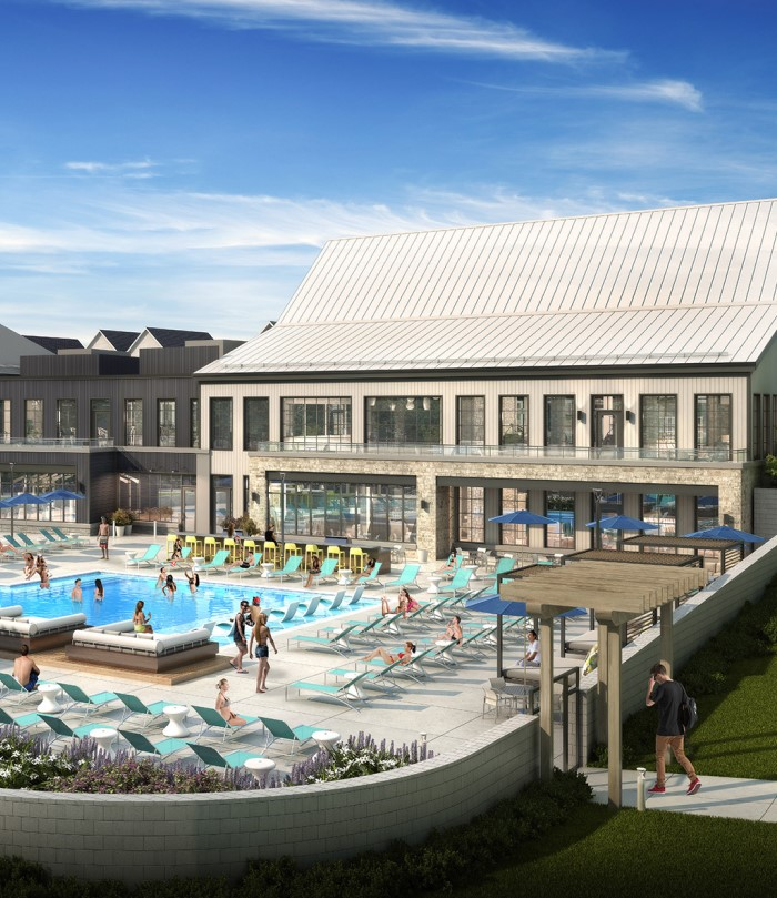 Exterior clubhouse and pool rendering of The Yards at Old State campus living community in State College, PA